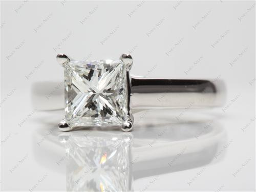 Platinum 1.72 Princess cut Diamond Solitaire Ring Settings