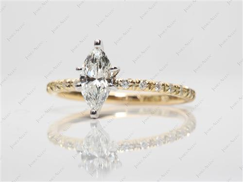 Gold 0.58 Marquise cut Pave Rings