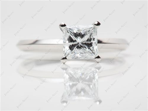 Platinum 1.06 Princess cut Solitaire Engagement Rings