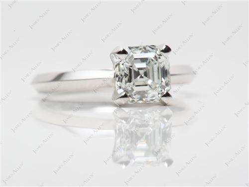 Platinum 1.01 Asscher cut Solitaire Engagement Ring
