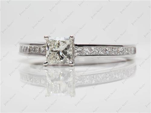 White Gold 0.66 Princess cut Channel Set Engagement Ring