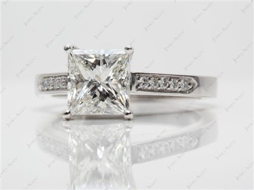 Platinum 1.74 Princess cut Pave Rings