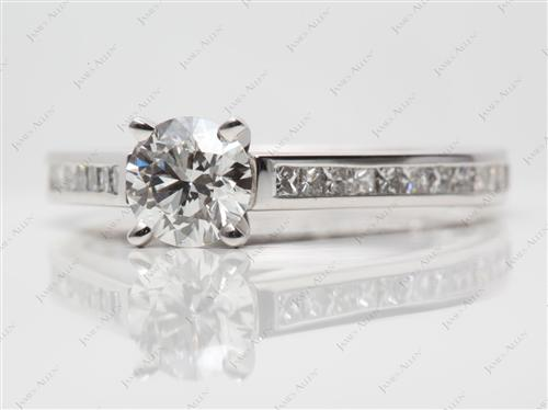 White Gold 0.77 Round cut Channel Set Diamond Engagement Rings