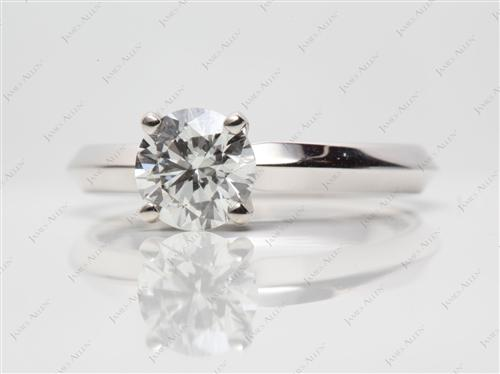 White Gold 0.90 Round cut Solitaire Engagement Rings