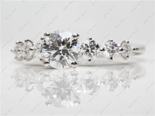 Platinum 1.04 Round cut Diamond Ring With Side Stones