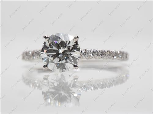 White Gold 1.04 Round cut Pave Engagement Rings