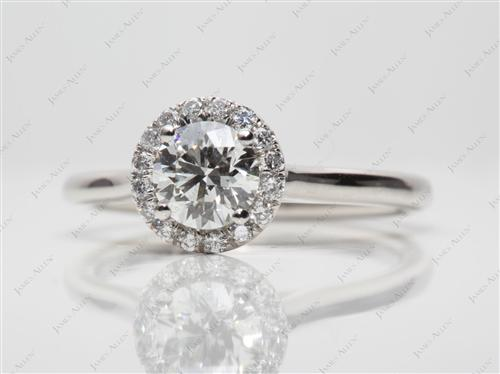 Platinum 0.61 Round cut Pave Diamond Engagement Rings