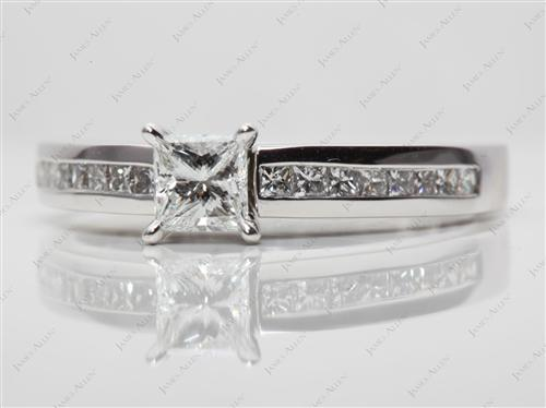 White Gold 0.53 Princess cut Diamond Channel Rings