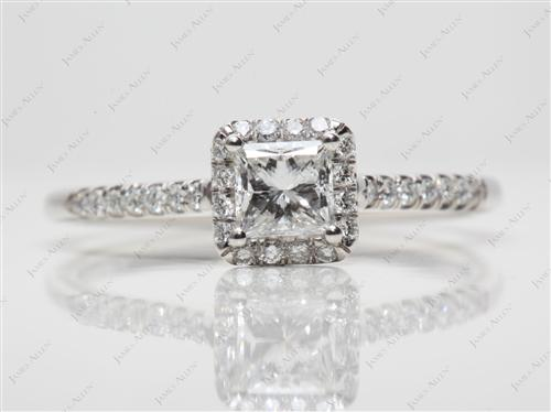 Platinum 0.54 Princess cut Pave Engagement Rings