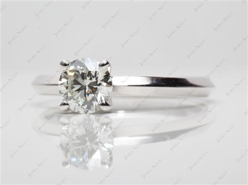 White Gold 0.71 Round cut Diamond Rings