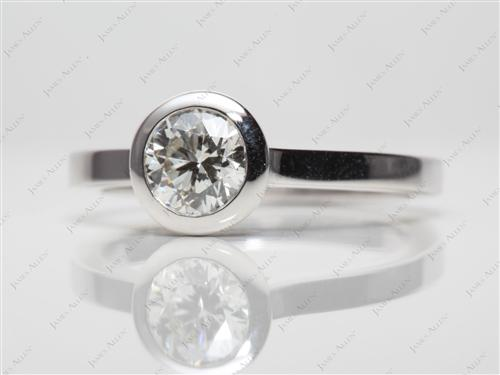 White Gold 0.70 Round cut Diamond Rings