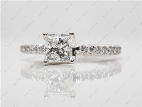 White Gold 0.75 Princess cut Pave Ring Settings