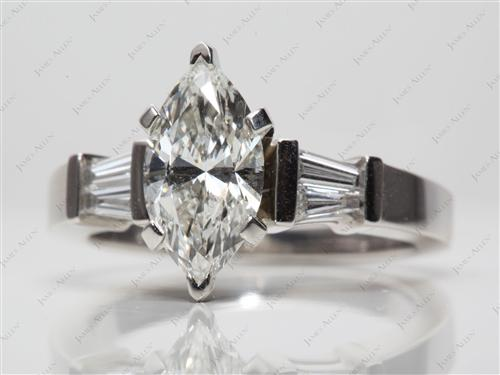 Platinum 1.55 Marquise cut Engagement Rings With Side Stones