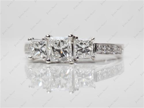 White Gold 0.62 Princess cut Three Stones Settings