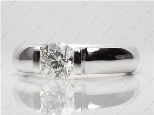 White Gold 1.02 Round cut Diamond Tension Rings
