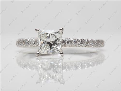White Gold 0.76 Princess cut Pave Rings