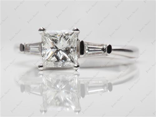 White Gold 1.16 Princess cut Engagement Rings