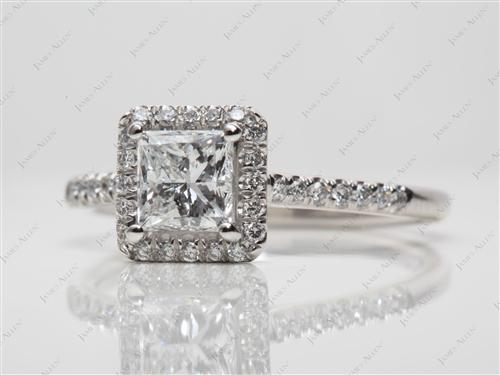 Platinum 1.00 Princess cut Micro Pave Rings