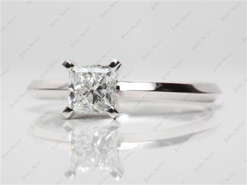 White Gold 0.62 Princess cut Diamond Engagement Solitaire Rings