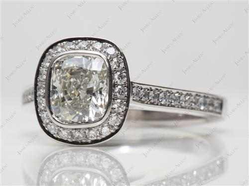 Platinum 1.22 Cushion cut Micro Pave Rings