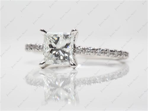 Platinum 1.12 Princess cut Engagement Rings