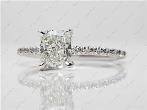 White Gold 1.42 Cushion cut Pave Setting Rings