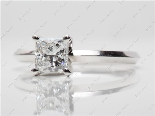 White Gold 0.80 Princess cut Diamond Solitaire Ring Settings