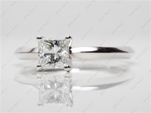 White Gold 0.70 Princess cut Diamond Engagement Solitaire Rings