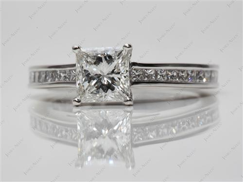 Platinum 1.09 Princess cut Channel Set Engagement Ring