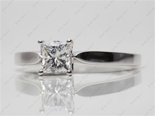 Platinum 0.74 Princess cut Diamond Solitaire Ring Settings