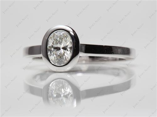 White Gold 0.75 Oval cut Diamond Ring
