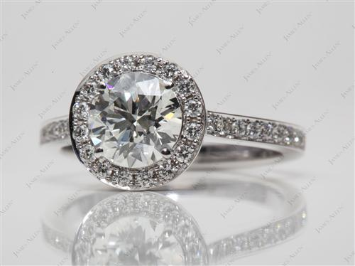 White Gold 1.51 Round cut Pave Engagement Ring