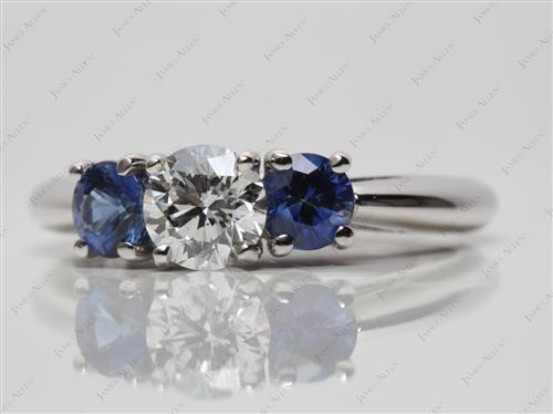 Platinum 0.70 Round cut Gemstone Diamond Rings