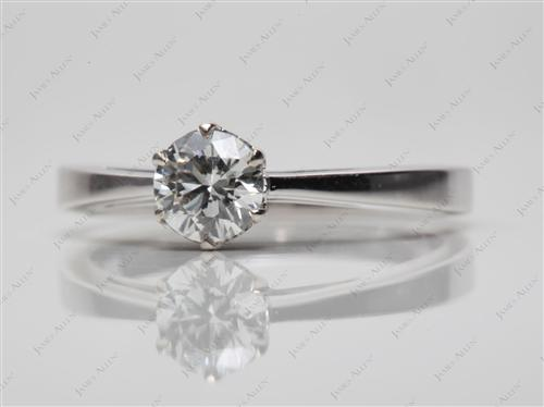 White Gold 0.50 Round cut Solitaire Diamond Ring