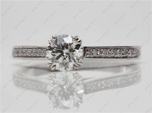 Platinum 0.83 Round cut Pave Engagement Ring