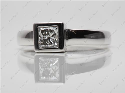 White Gold 0.61 Princess cut Tension Set Rings