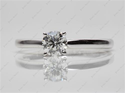 White Gold 0.61 Round cut Diamond Solitaire Rings