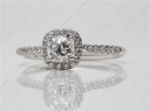 White Gold 0.61 Cushion cut Engagement Rings Pave