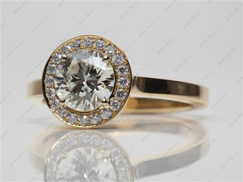 Gold 1.18 Round cut Pave Engagement Rings