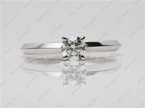 White Gold 0.30 Round cut Diamond Solitaire Rings