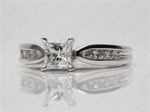 Platinum 0.70 Princess cut Channel Setting Engagement Ring