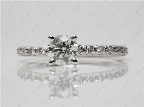 White Gold 0.70 Round cut Engagement Rings Pave