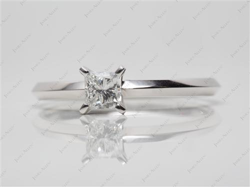 White Gold 0.38 Princess cut Diamond Engagement Solitaire Rings