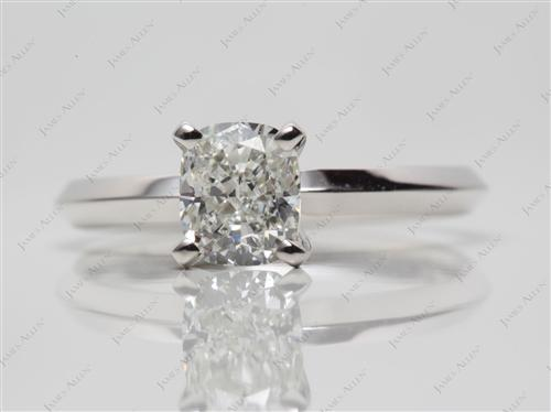 White Gold 1.01 Cushion cut Solitaire Ring Setting