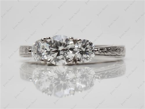 Platinum 0.74 Round cut Three Stones Diamonds Rings
