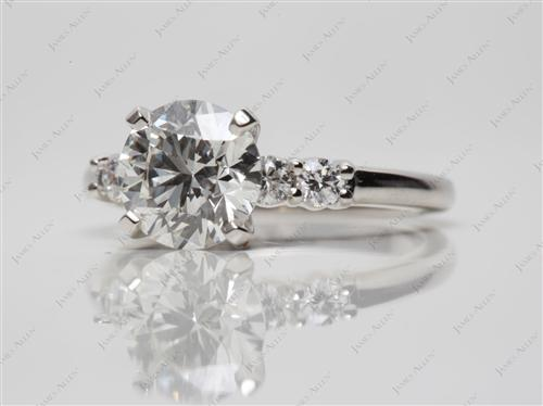 Platinum 1.25 Round cut Diamond Ring With Sidestones