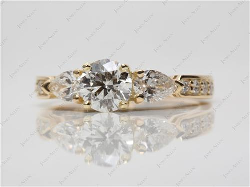 Gold 0.77 Round cut Three Stones Ring