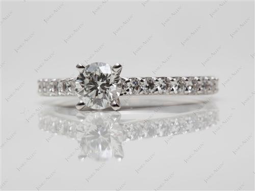 White Gold 0.52 Round cut Diamond Rings