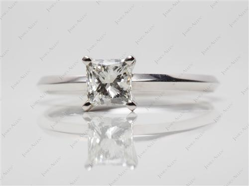 White Gold 0.91 Princess cut Solitaire Engagement Ring