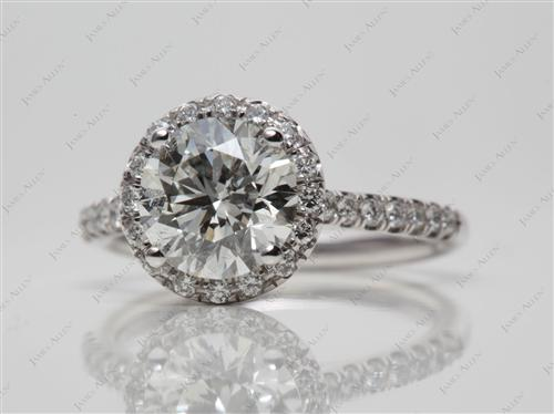 Platinum 1.50 Round cut Pave Ring Setting